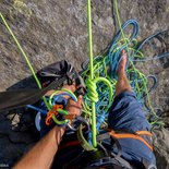 Rock climbing: technical course of safety in cliff (Isère, Vercors)