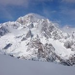Ski touring course facing Mont Blanc (Courmayeur, Aosta Valley)