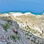 Multi pitch rock climbing route in Kalymnos