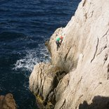 Rock climbing course of multi pitch routes in the Calanques
