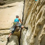 Traditional climbing course on the sandstone of Annot (Alpes-de-Haute-Provence)