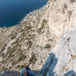 Multi pitch rock climbing route in Telendos (Kalymnos)