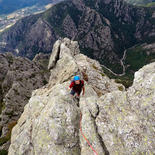 Multi pitch climbing route in the Caroux massif (Hérault)