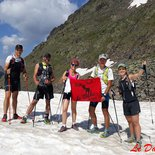 Trail course on snow in Ariège (Pyrenees)