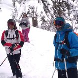 Forest skiing/snowboarding after heavy snowfall in Tarentaise (Savoy)