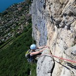 Multi pitch climbing route above Annecy lake (Haute-Savoie)