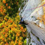 Rock climbing multi pitch route in Presles (Vercors)